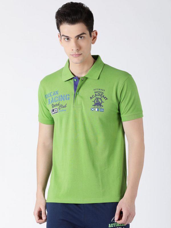 Polo T Shirts For Men - Carlos Fashion Polo - Front - Kiwi Green