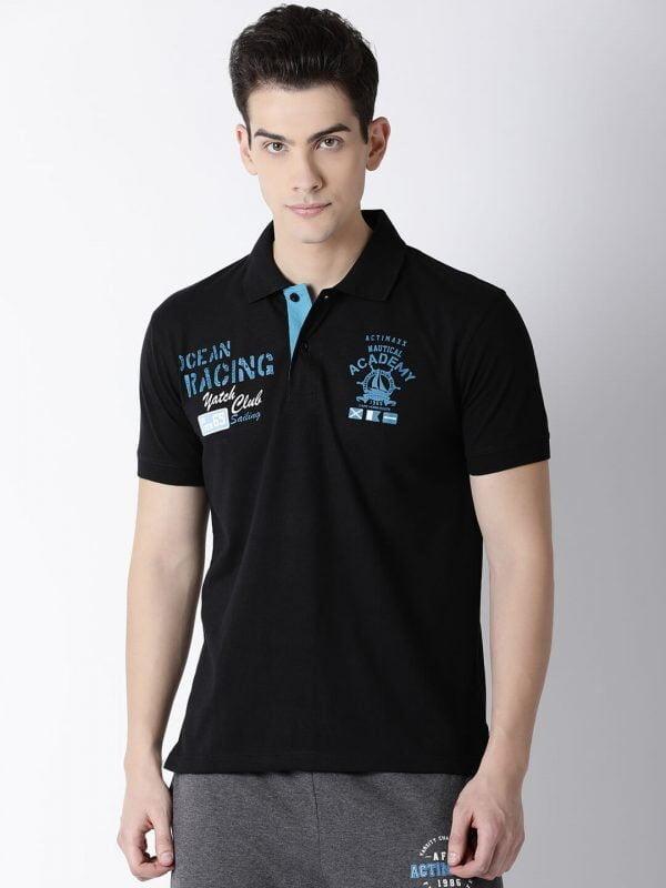 Polo T Shirts For Men - Carlos Fashion Polo - Front - Black