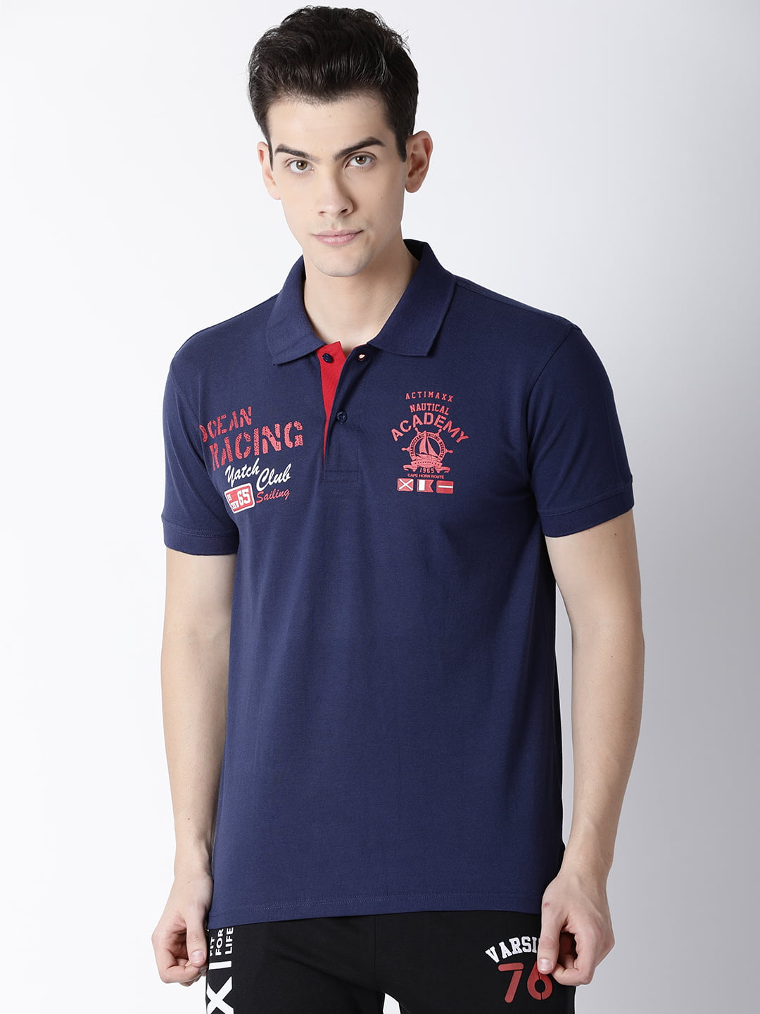 Polo T Shirts For Men - Carlos Fashion Polo - Front - Navy Blue