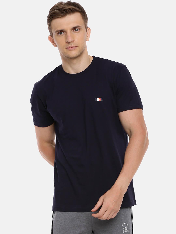 Round Neck Cotton T Shirt - Premium Half Sleeve T-Shirt - Front - Navy Blue