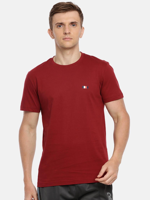 Round Neck Cotton T Shirt - Premium Half Sleeve T-Shirt - Front - Ruby Wine