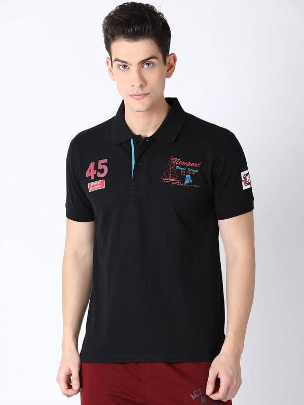 Polo T Shirts For Men - Lucas Fashion Polo - Front - Black