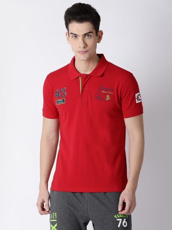 Polo T Shirts For Men - Lucas Fashion Polo - Front - Cherry Red
