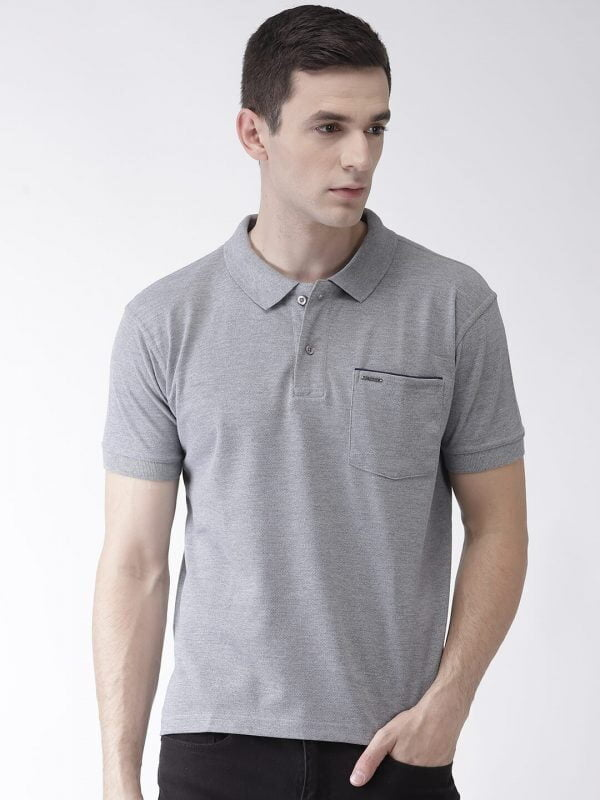 Polo T Shirts For Men - Pocket Polo - Front - Grey