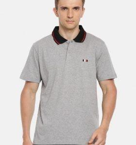 Premium Collar Half Sleeve T-Shirt - Grey Melange