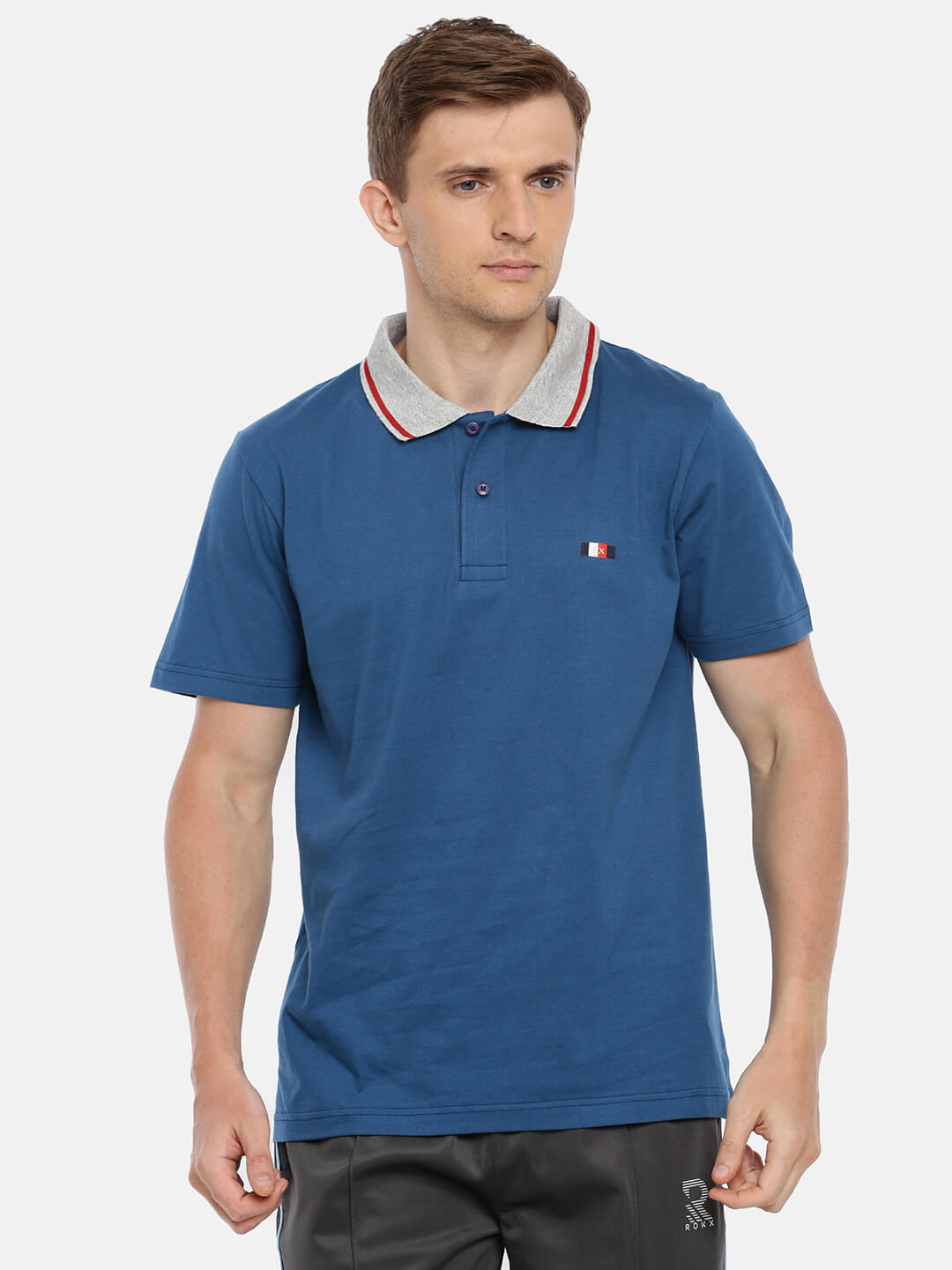 Polo T Shirts For Men - Premium Collar Half Sleeve T-Shirt - Front - Moroccan Blue