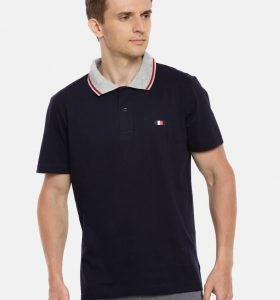 Premium Collar Half Sleeve T-Shirt - Navy Blue