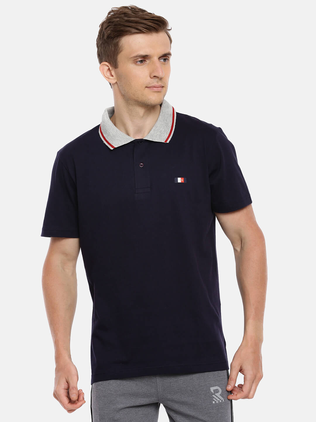 Polo T Shirts For Men - Premium Collar Half Sleeve T-Shirt - Front - Navy Blue