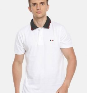 Premium Collar Half Sleeve T-Shirt - White