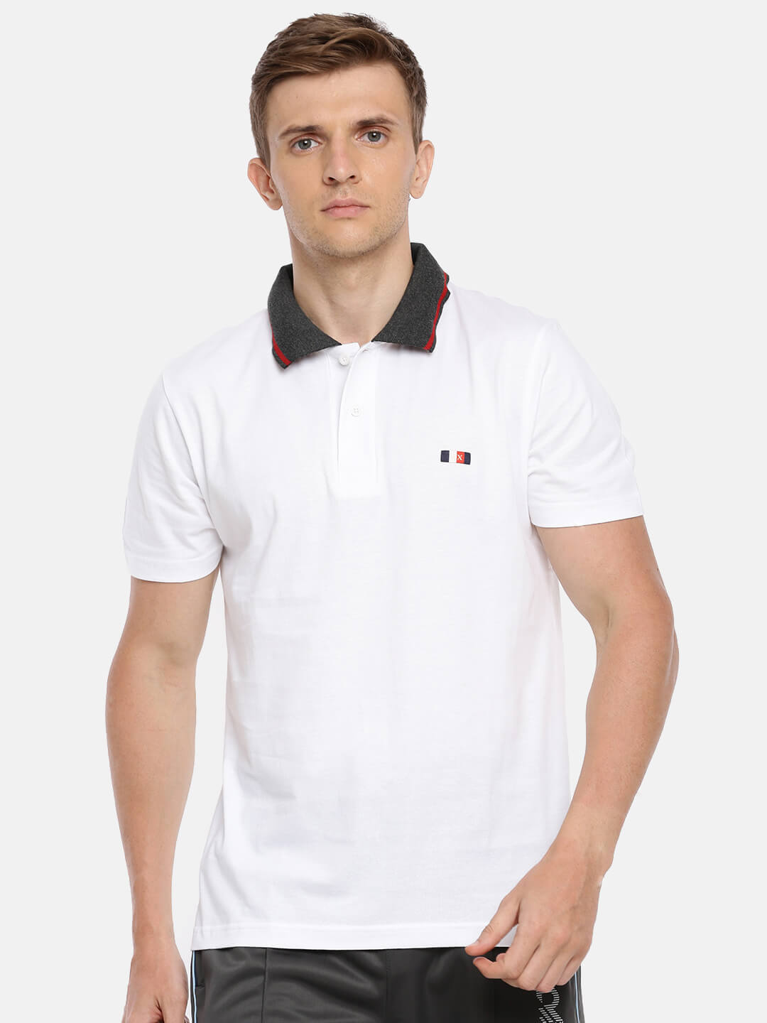 Polo T Shirts For Men - Premium Collar Half Sleeve T-Shirt - Front - White