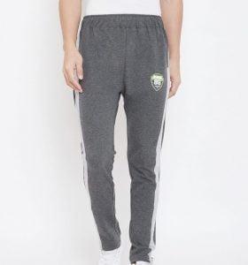 Solid Men Modern Tapered Fit Track Pants - Charcoal Melange
