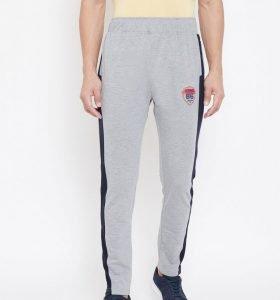 Solid Men Modern Tapered Fit Track Pants - Grey Melange