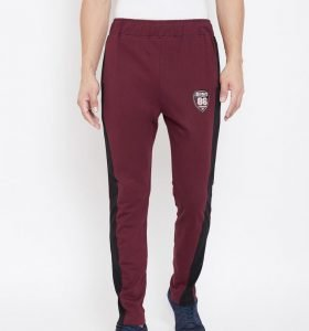 Solid Men Modern Tapered Fit Track Pants - Maroon
