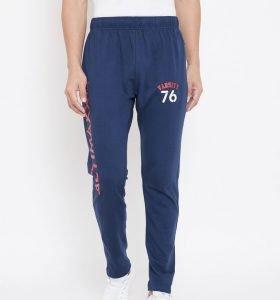 Solid Men Signature Track Pants - Navy Blue