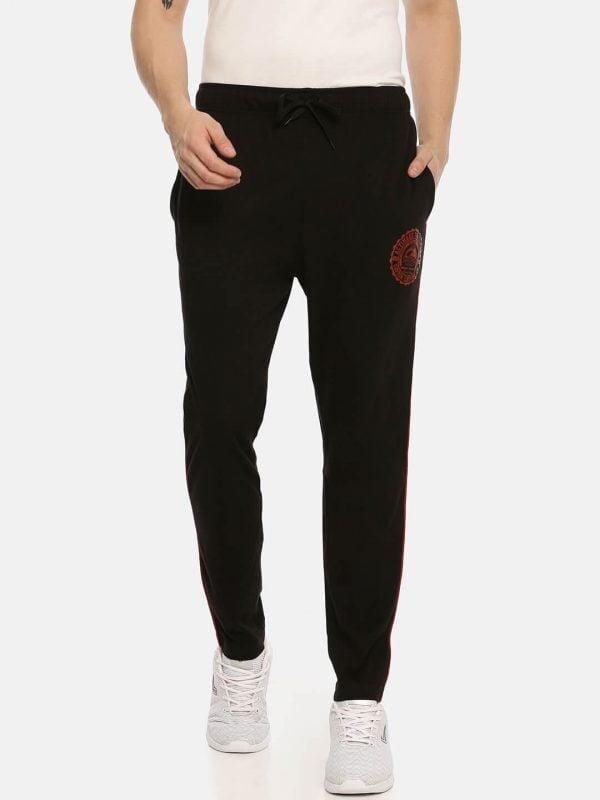Track Pants For Men - Ultra Comfort Track - Front - Black