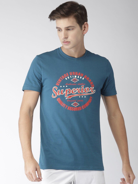 Round Neck Cotton T Shirt - Superior - Front - Moroccan Blue