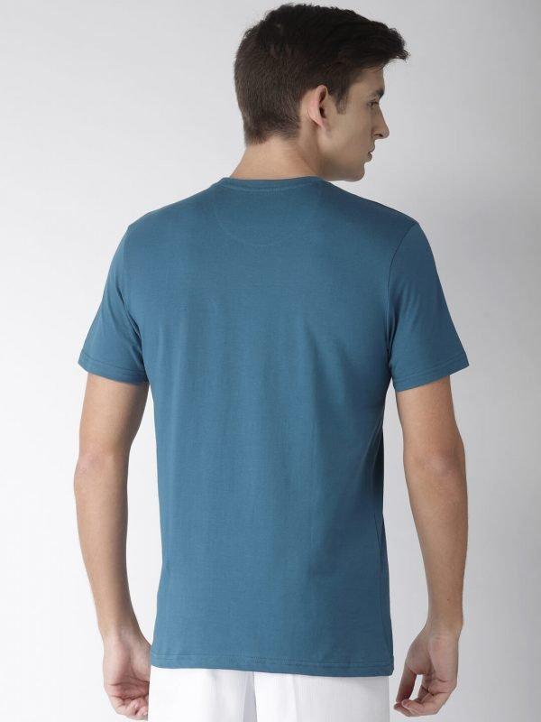 Round Neck Cotton T Shirt - Superior - Back - Moroccan Blue