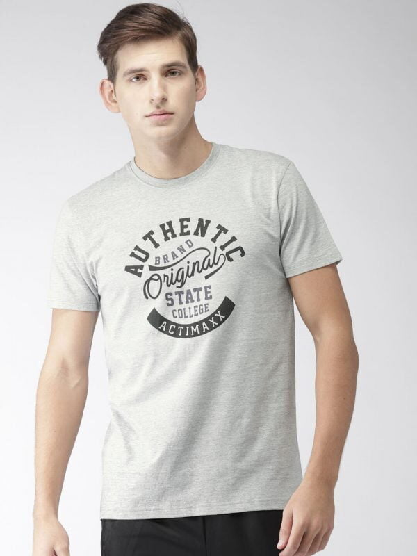 Round Neck T Shirt For Men - Authentic - Front - Grey