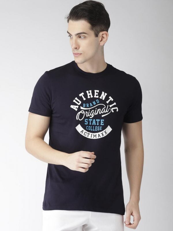 Round Neck T Shirt For Men - Authentic - Front - Navy Blue