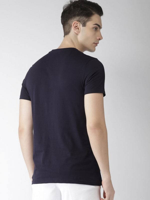 Round Neck T Shirt For Men - Authentic - Back - Navy Blue