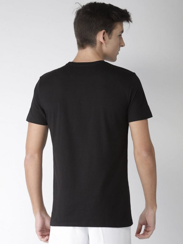 Round Neck T Shirt For Men - Awesome - Back - Black