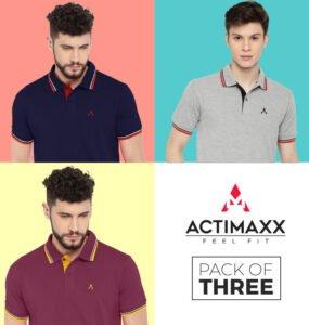 Polo Tshirts For Men - Style Polo - 3PC - Navy Blue - Grey - Magenta