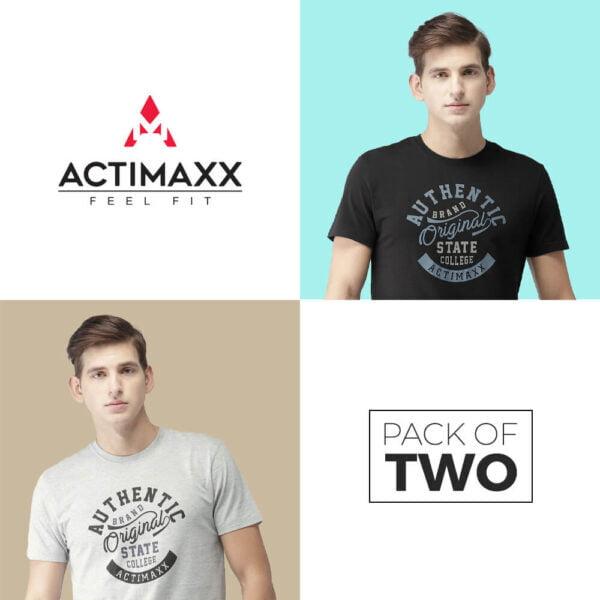 Round Neck Cotton Tshirts - Authentic - 2PC - Black - Grey Melange