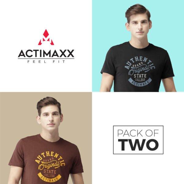 Round Neck Cotton Tshirts - Authentic - 2PC - Black - Andra