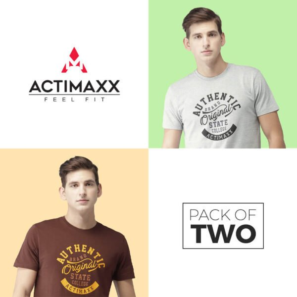 Round Neck Cotton Tshirts - Authentic - 2PC - Grey Melange - Andra
