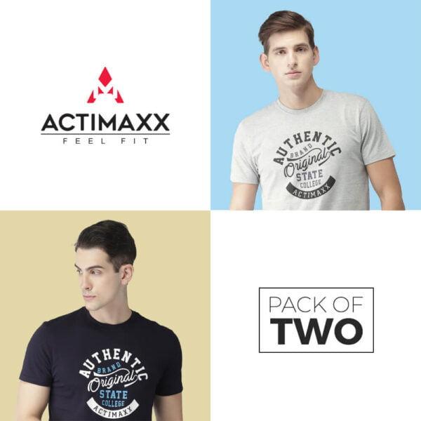 Round Neck Cotton Tshirts - Authentic - 2PC - Grey Melange - Navy Blue