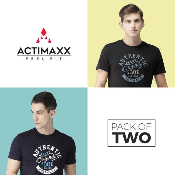 Round Neck Cotton Tshirts - Authentic - 2PC - Black - Navy Blue