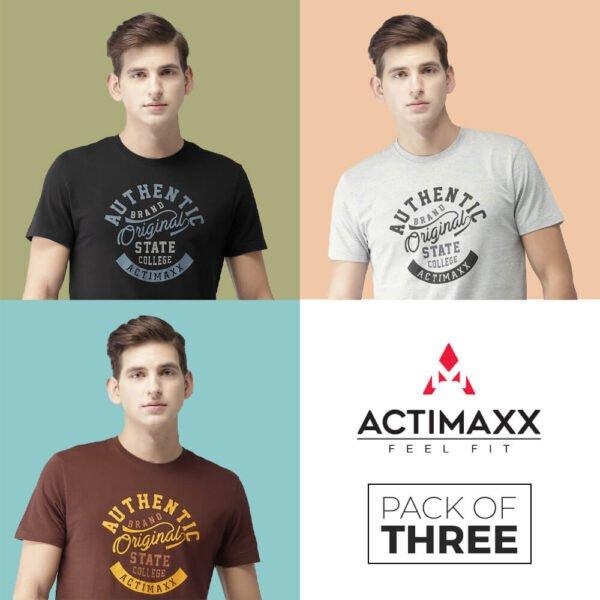 Round Neck Tshirts For Men - Authentic - 3PC - Grey Melange - Black - Andra