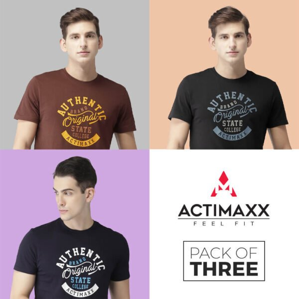 Round Neck Tshirts For Men - Authentic - 3PC Andra - Black - Navy Blue