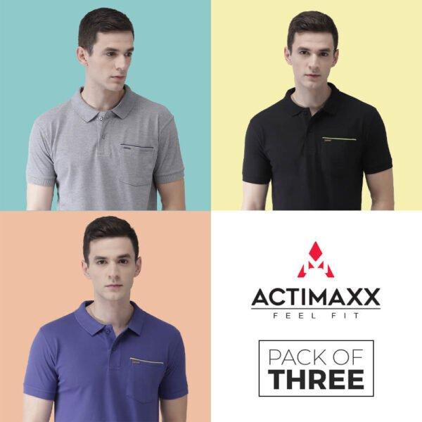 Polo Tshirts Online - Pocket Polo - 3PC - Royal Blue - Black - Grey Melange