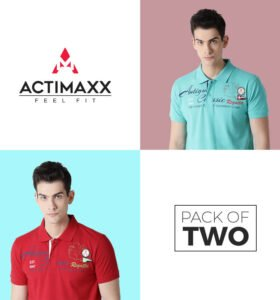 Roger Fashion Polo - Combo Pack Of 2 - Turquoise, Cherry Red