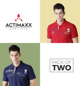 Roger Fashion Polo - Combo Pack Of 2 - Navy Blue, Cherry Red