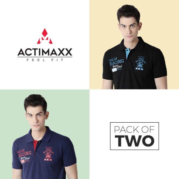 Polo Tshirts Online - Carlos Fashion Polo - 2PC - Navy Blue - Black