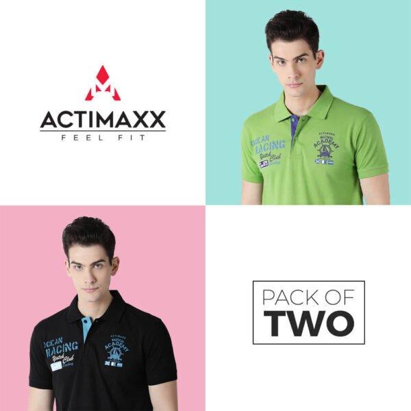 Polo Tshirts Online - Carlos Fashion Polo - 2PC - Kiwi Green - Black
