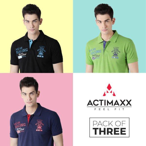Polo Tshirts For Men - Carlos Fashion Polo - 3PC - Navy Blue - Kiwi Green - Black