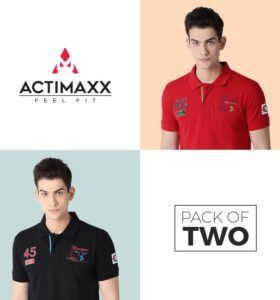 Lucas Fashion Polo - Combo Pack Of 2 - Cherry Red, Black
