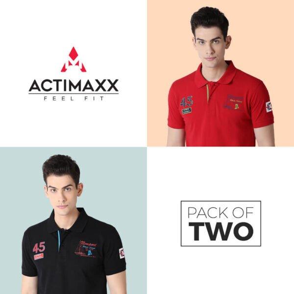 Polo Tshirts For Men - Lucas Fashion Polo - 2PC - Cherry Red - Black