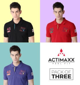Lucas Fashion Polo - Combo Pack Of 3 - Royal Blue, Cherry Red, Black