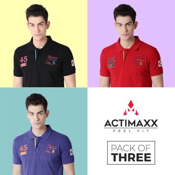 Polo Tshirts Online - Lucas Fashion Polo - 3PC - Royal Blue - Cherry Red - Black